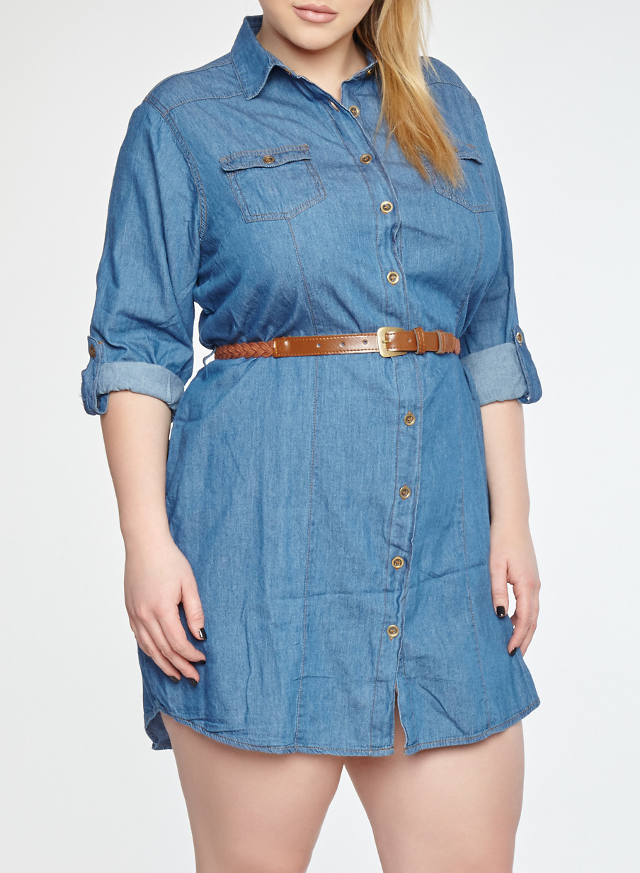 Plus Size Button Front Belted Denim Dress Rainbow
