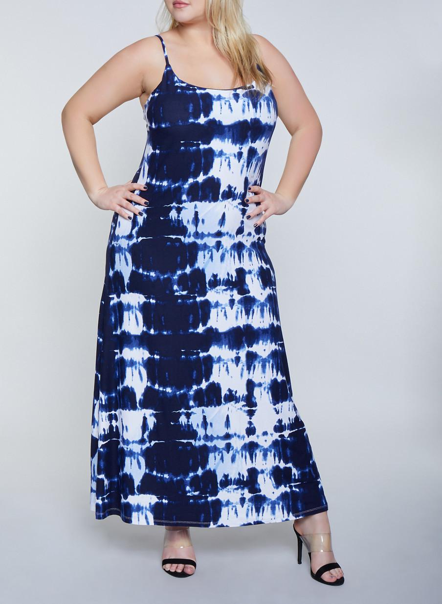 db5e476a34d8 Plus Size Tie Dye Tank Cami Dress   1390038349930 - Rainbow