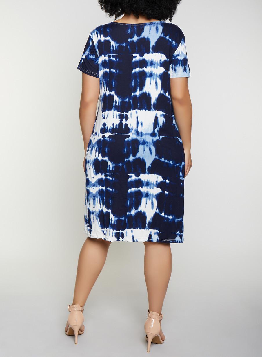 50f9b1540 Plus Size Caged Neck Tie Dye Dress - Rainbow