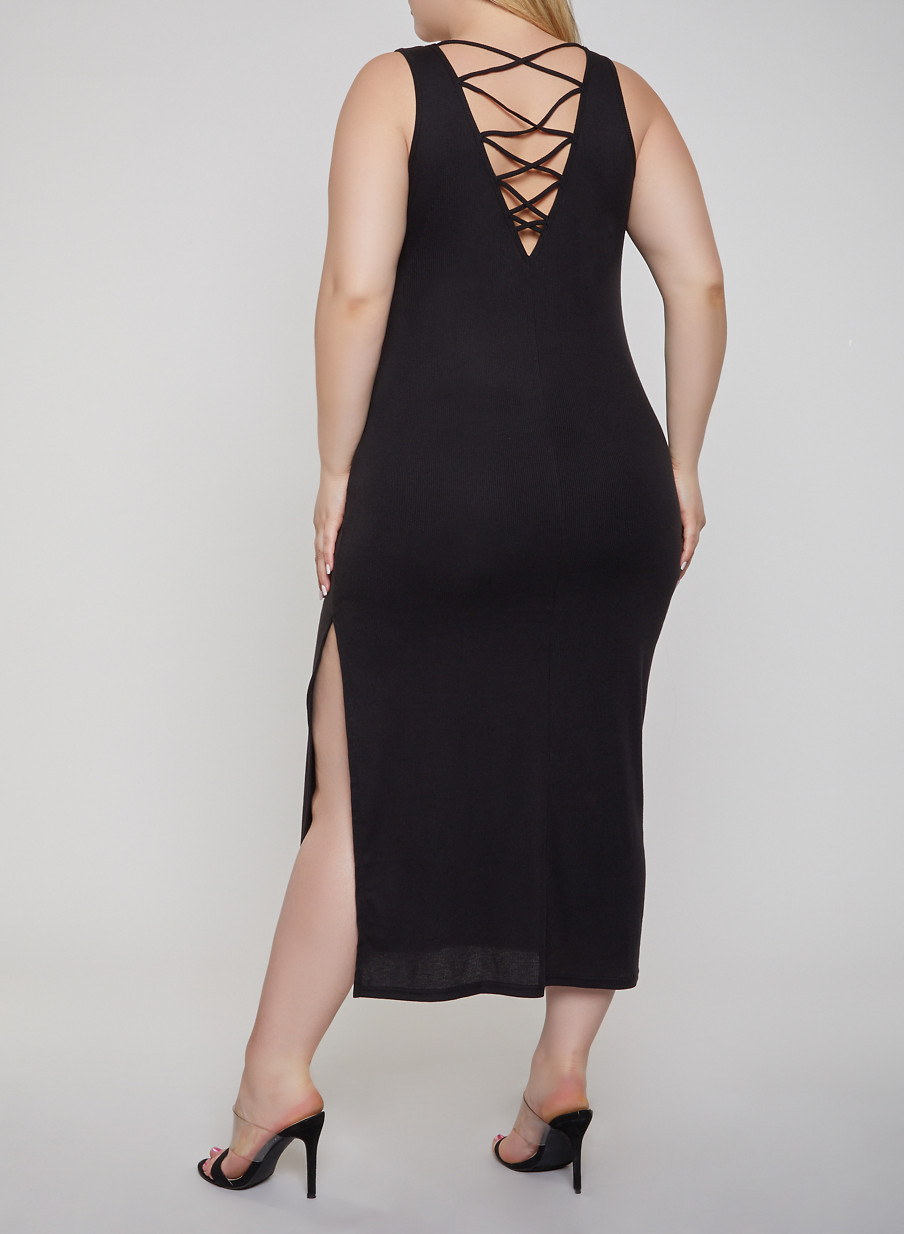 Plus Size Caged Back Tank Dress - Rainbow