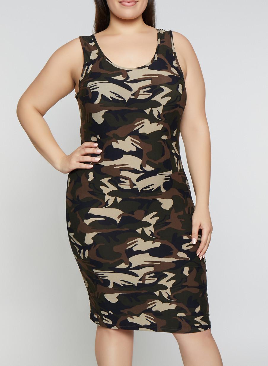 Plus Size Camo Tank Dress   1390051060947 - Rainbow