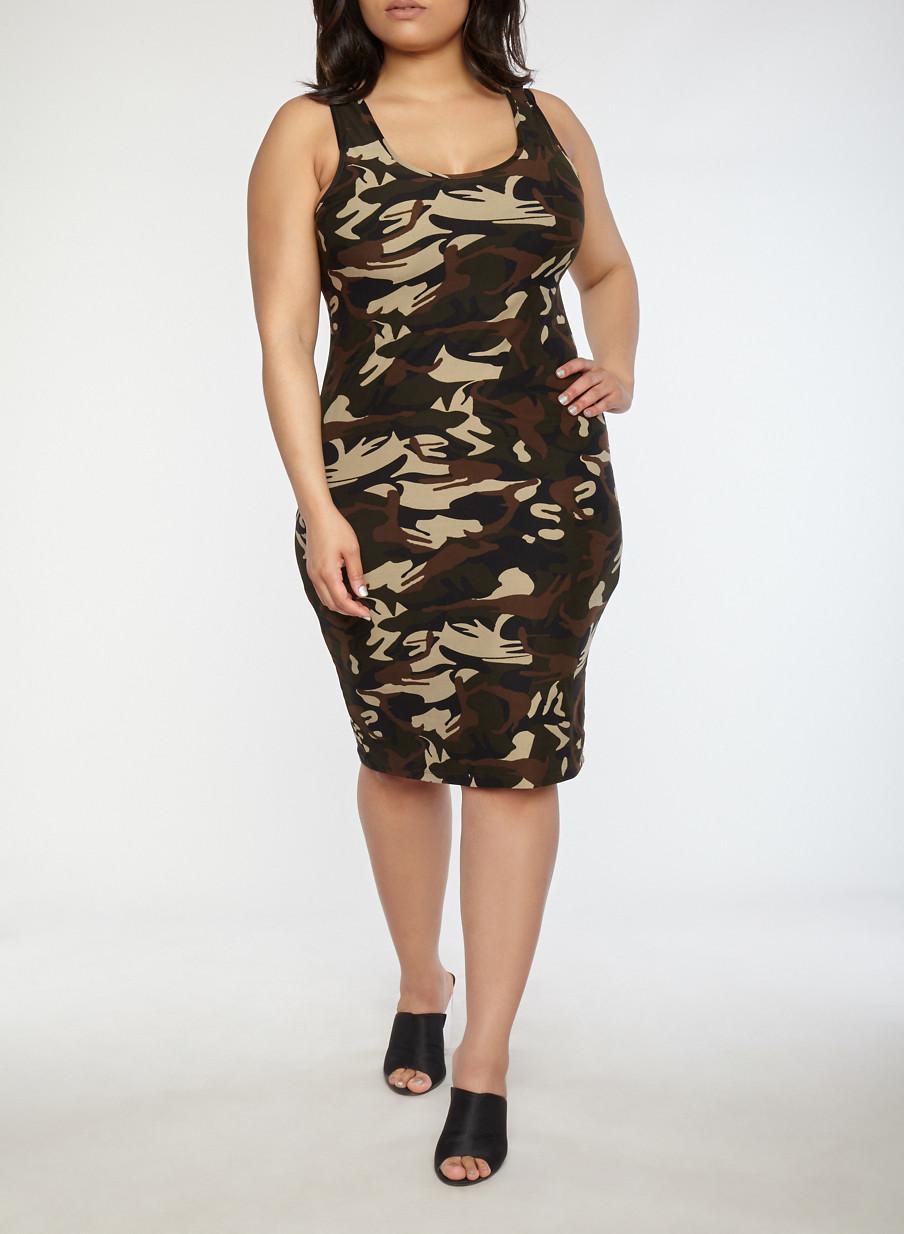 Plus Size Camo Midi Tank Dress Rainbow