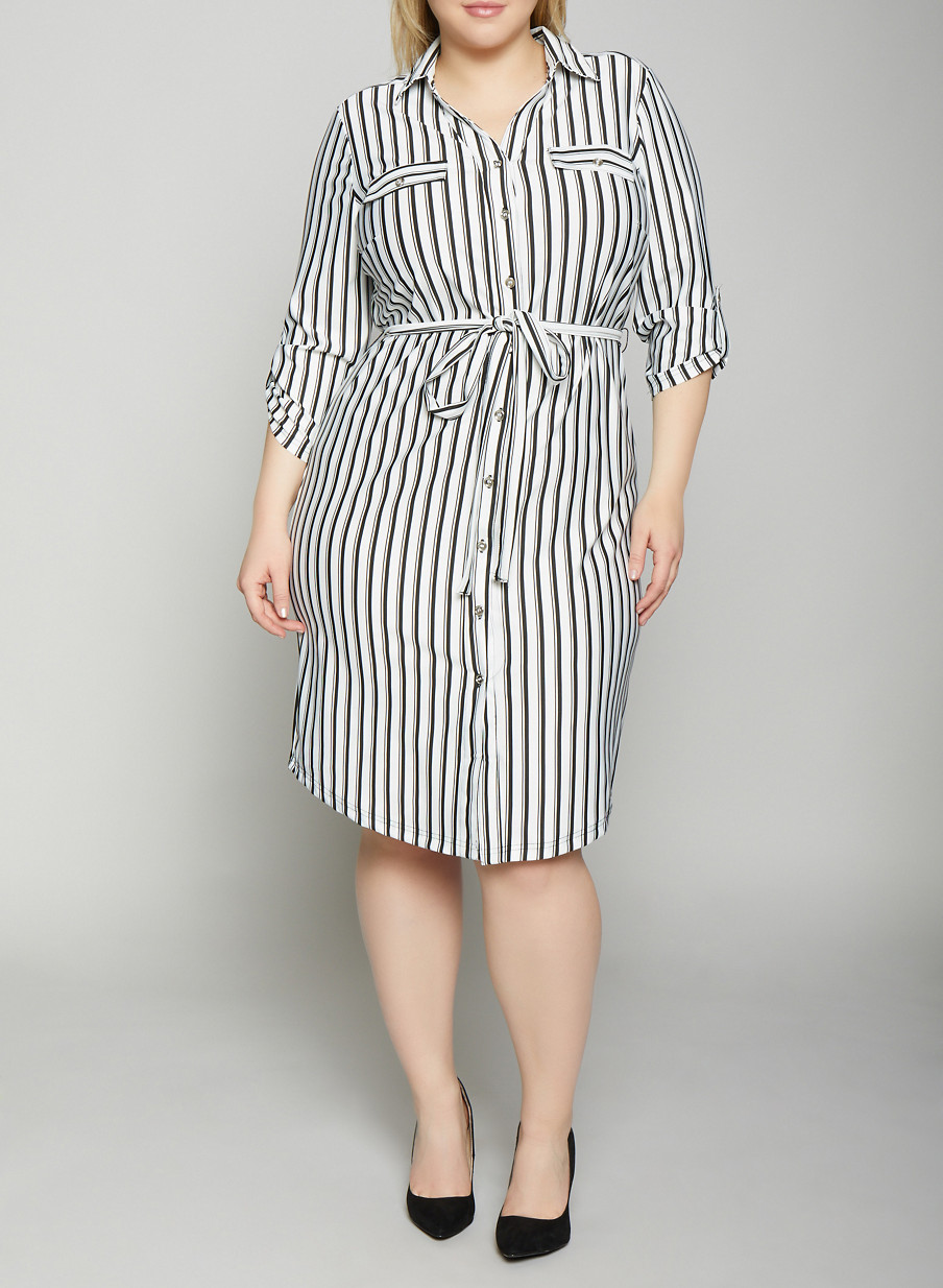 57f8260d40e Plus Size Striped Shirt Dress