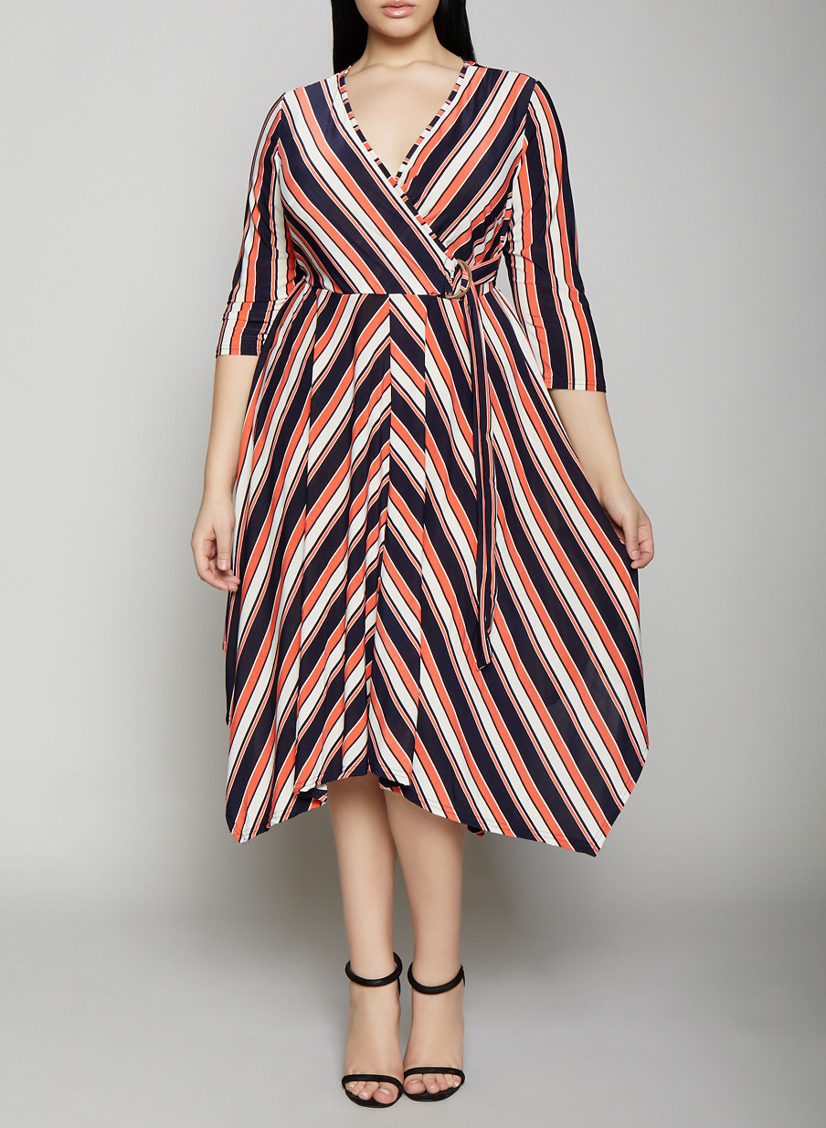 4f8e91c58a8 Plus Size Striped Tie Front Faux Wrap Dress - Rainbow