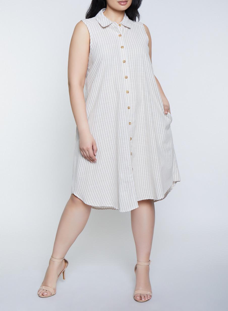 Plus Size Sleeveless Striped Linen Shirt Dress - Rainbow