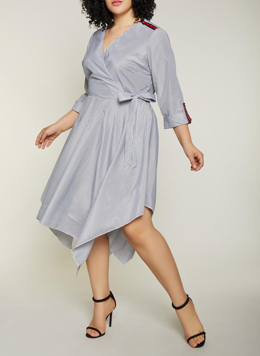 Plus Size Stripe Tape Faux Wrap Dress - Rainbow