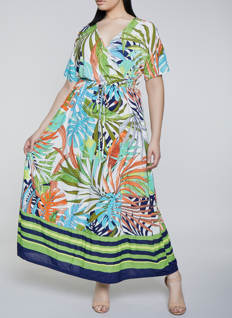2fc99f90806 Plus Size Tropical Print Faux Wrap Dress
