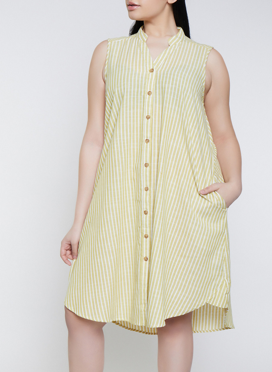 67eca5aa742 Plus Size Striped Linen Shirt Dress