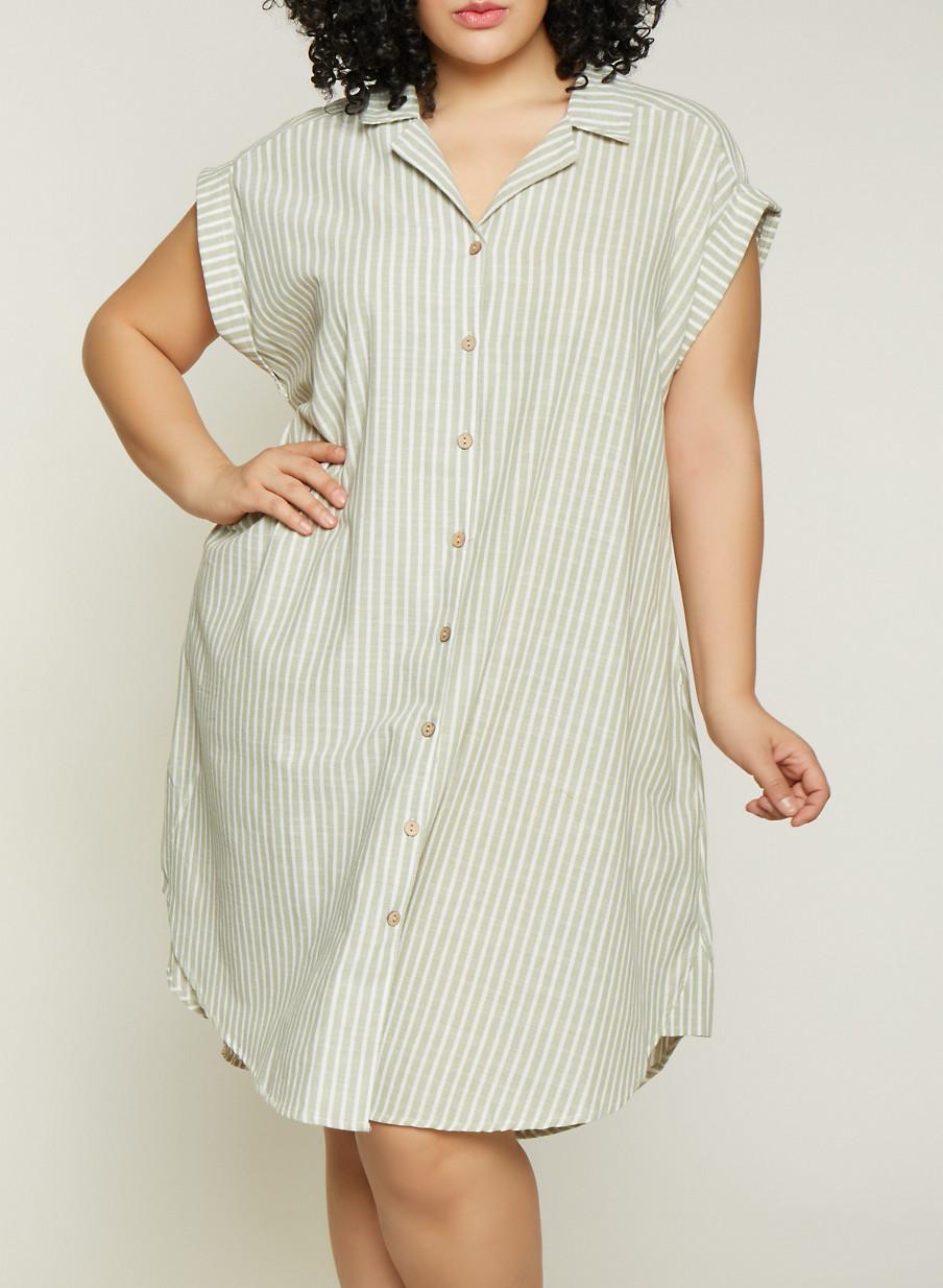 Plus Size Striped Linen Shirt Dress | 1390056121890 - Rainbow