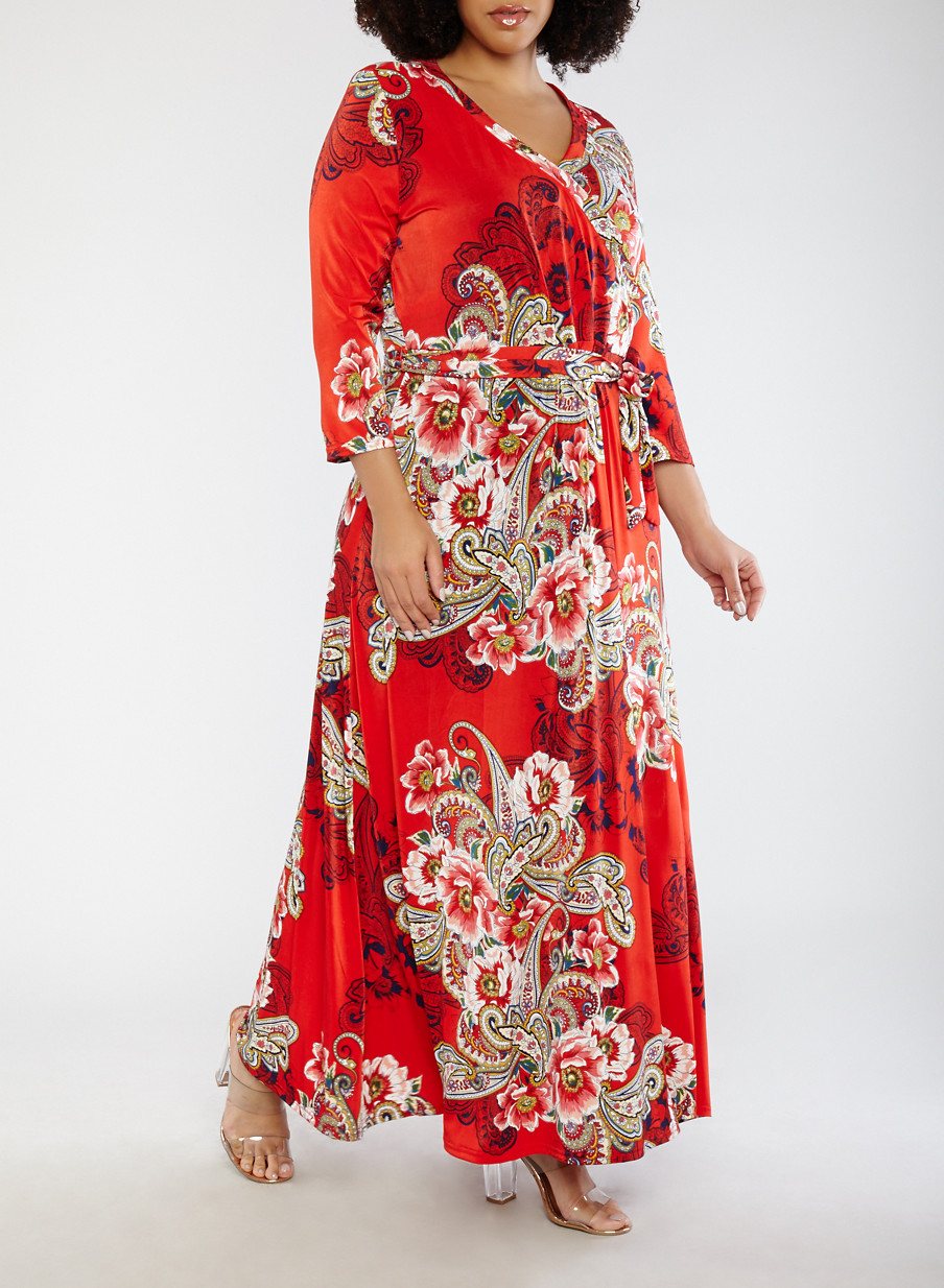 Plus Size Red Printed Faux Wrap Dress With Sleeves Rainbow