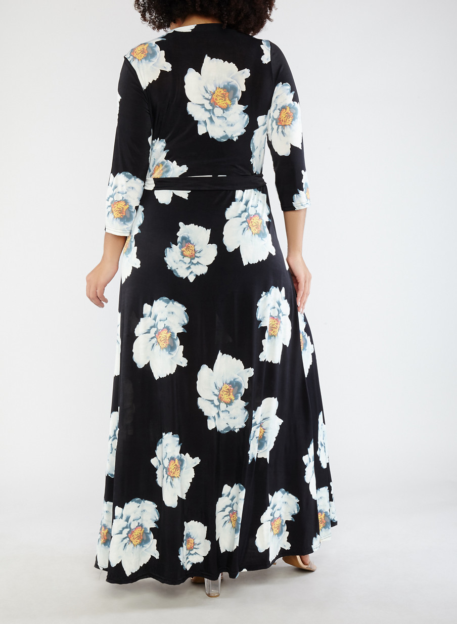 Plus Size Black Floral Faux Wrap Maxi Dress With Sleeves Rainbow