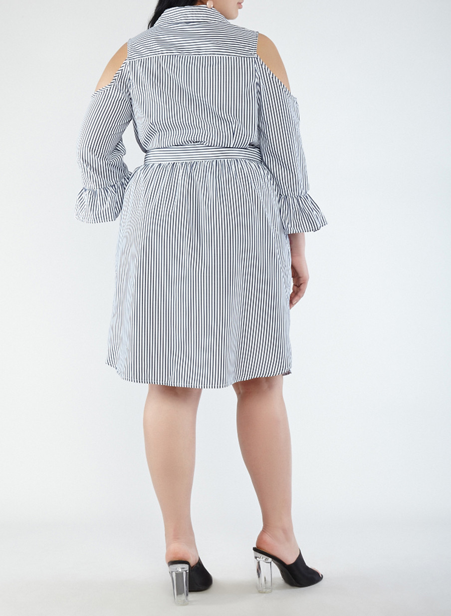 Plus Size Striped Cold Shoulder Shirt Dress Rainbow