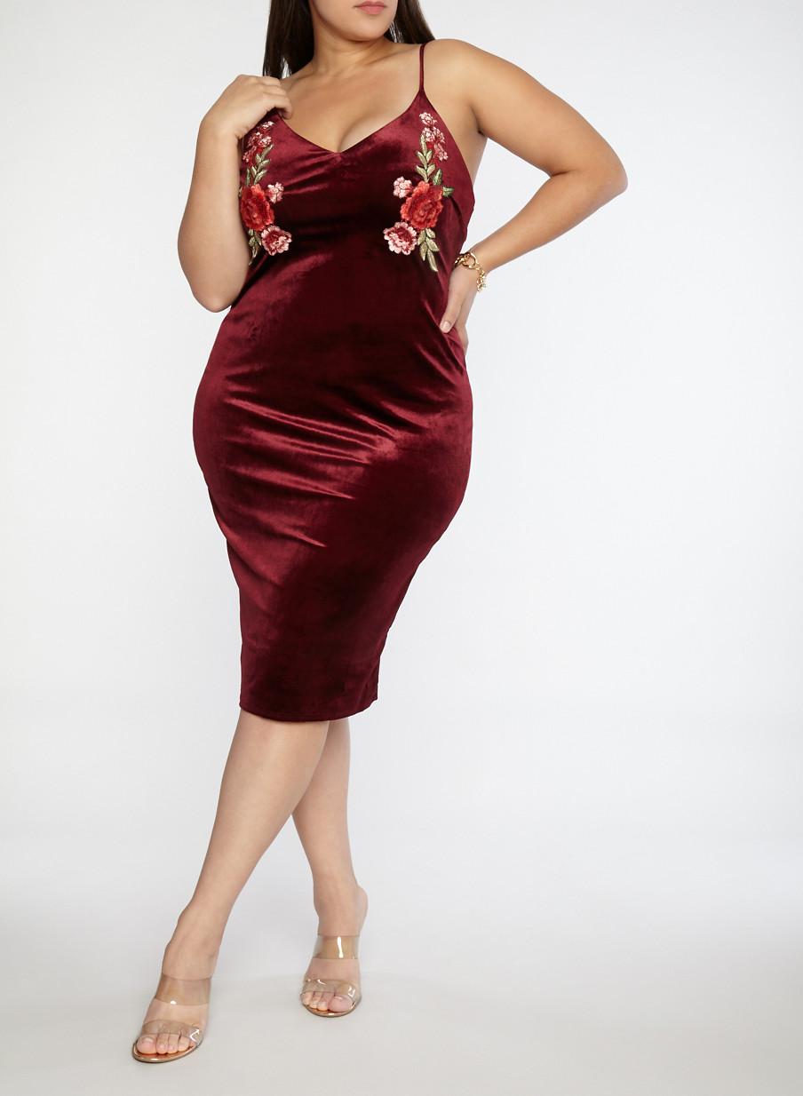 Plus Size Floral Applique Velvet Dress Rainbow