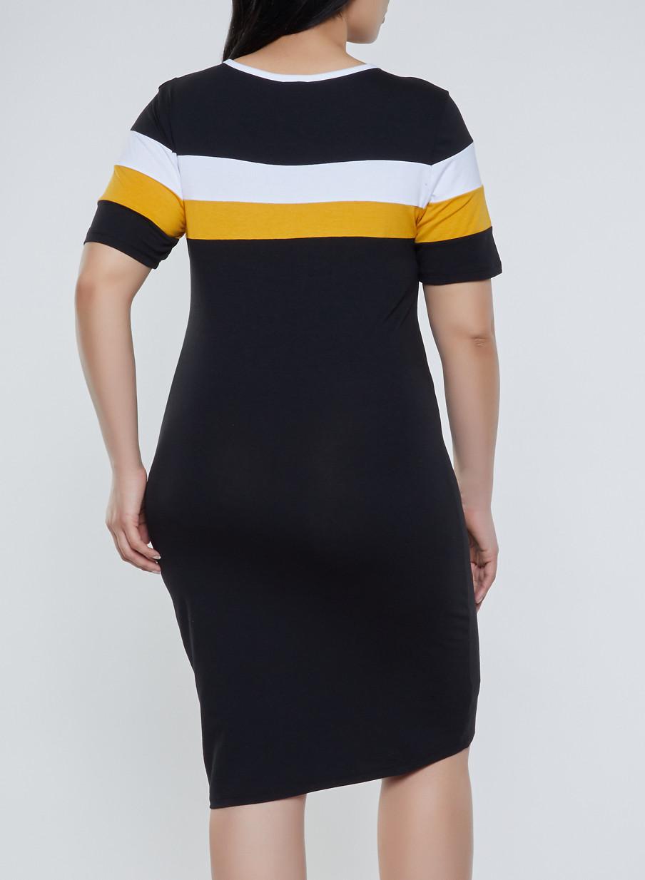 0c725a58000 Plus Size Color Block T Shirt Dress