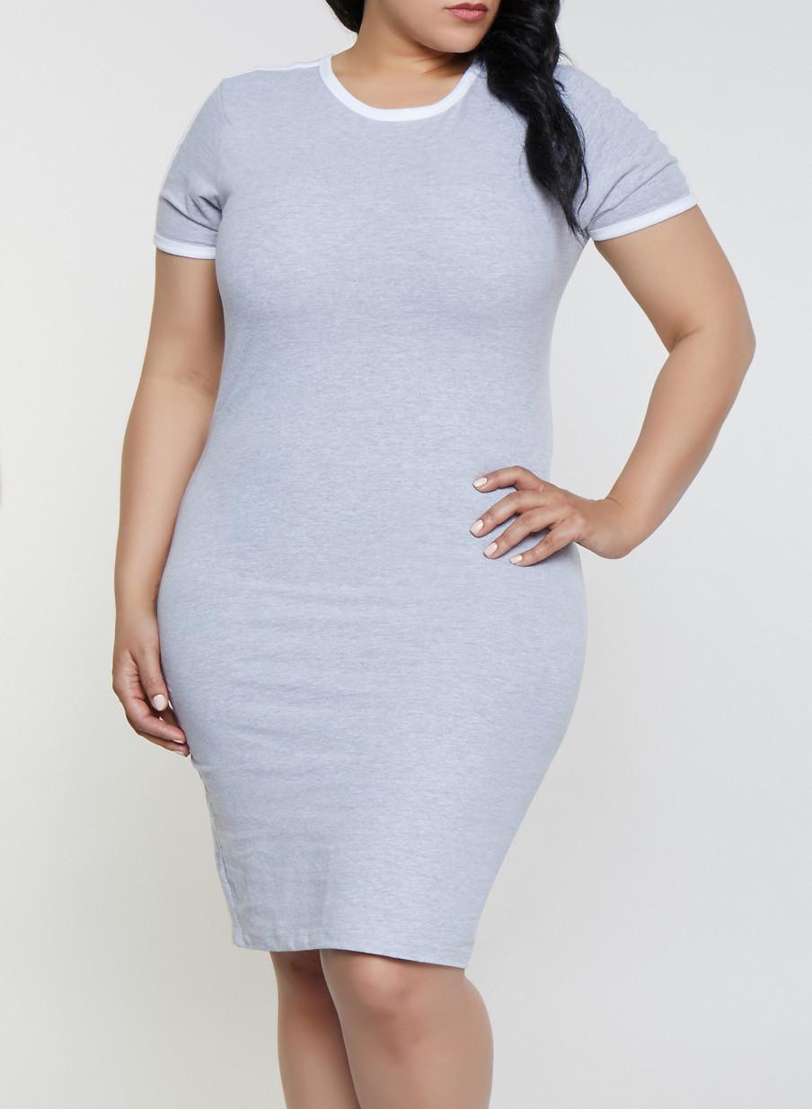 Plus Size Contrast Trim T Shirt Dress | 1390061639736 - Rainbow
