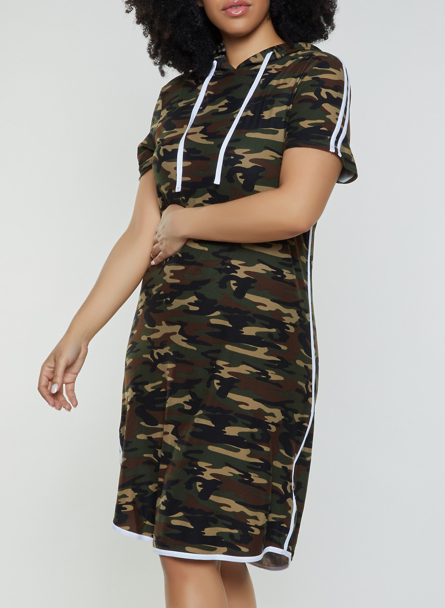 cc6f33c2036 Plus Size Soft Knit Camo T Shirt Dress - Rainbow
