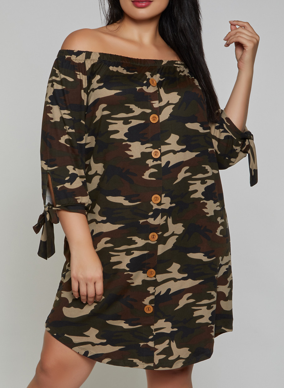 Plus Size Camo Off the Shoulder Dress