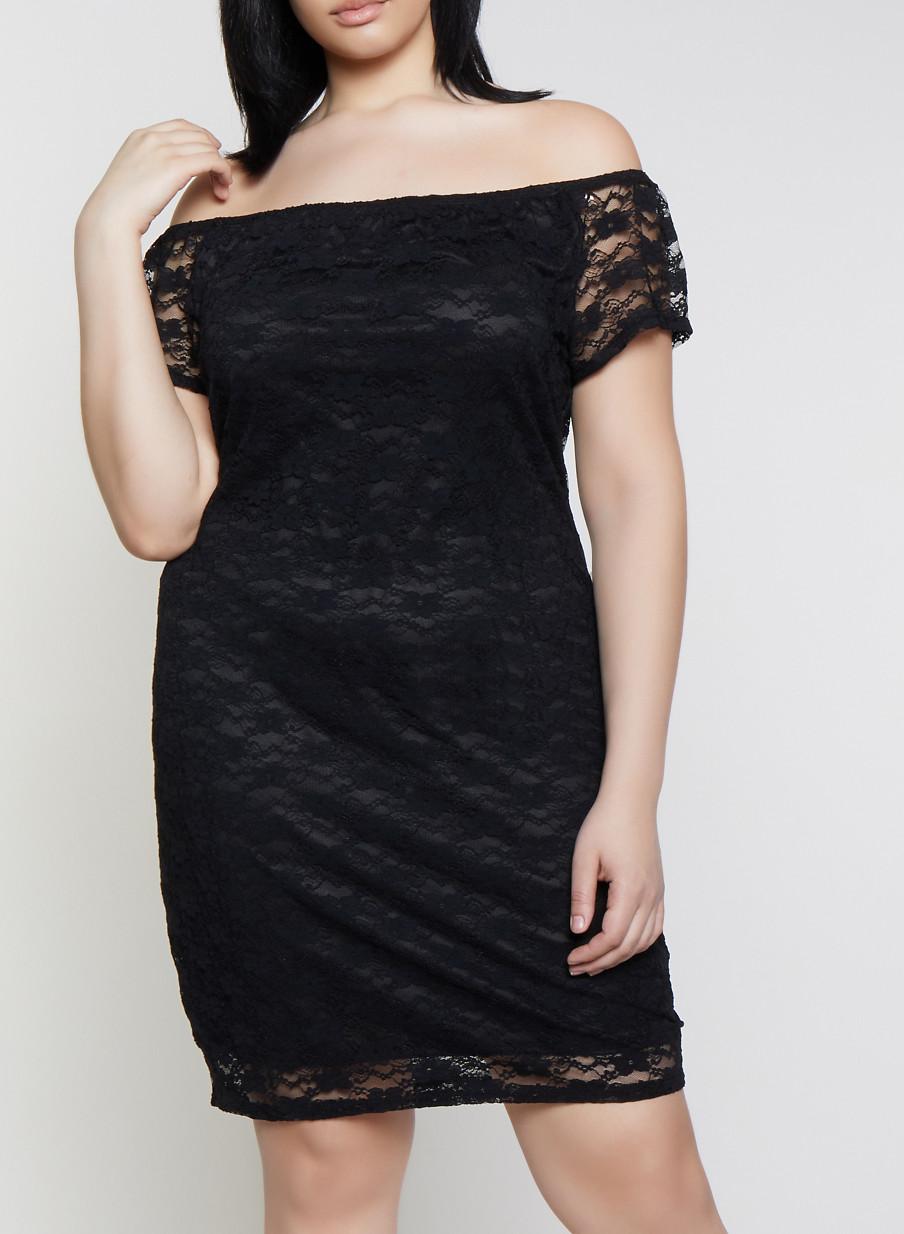 Plus Size Off the Shoulder Lace Bodycon Dress