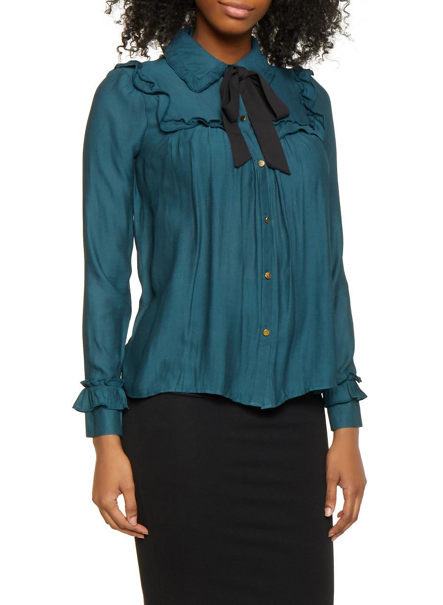 17287084b6e4bb Ruffled Tie Neck Metallic Button Shirt - Rainbow