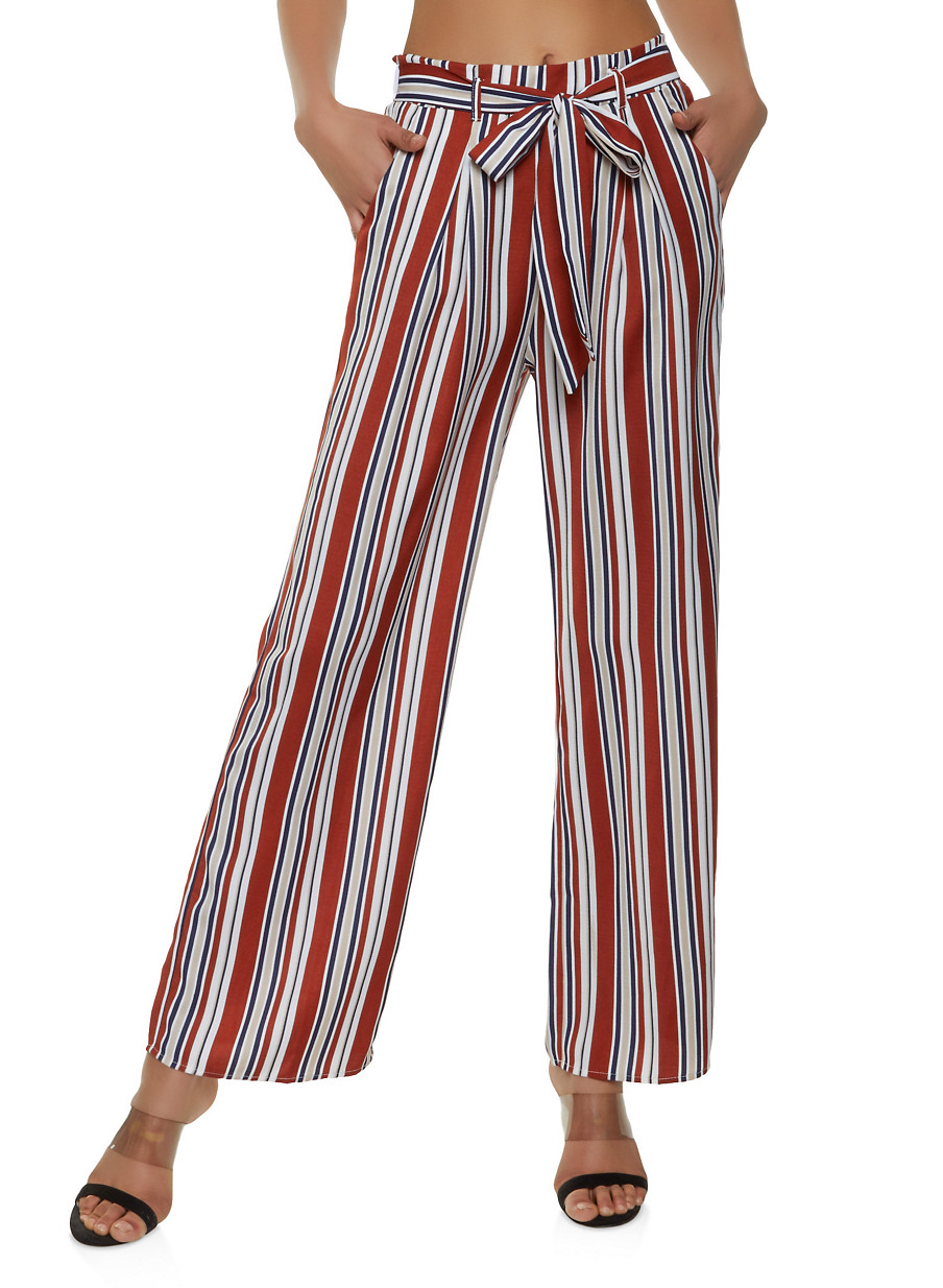 a0e7b93dfb Striped Tie Waist Palazzo Pants | 1407069390635 - Rainbow