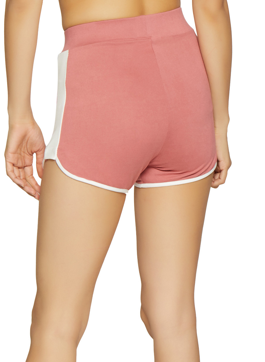 884f795137 Contrast Trim Dolphin Shorts - Rainbow