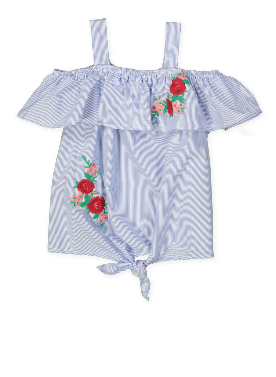 81641d14 Girls 4-6x Floral Embroidered Striped Top - Rainbow