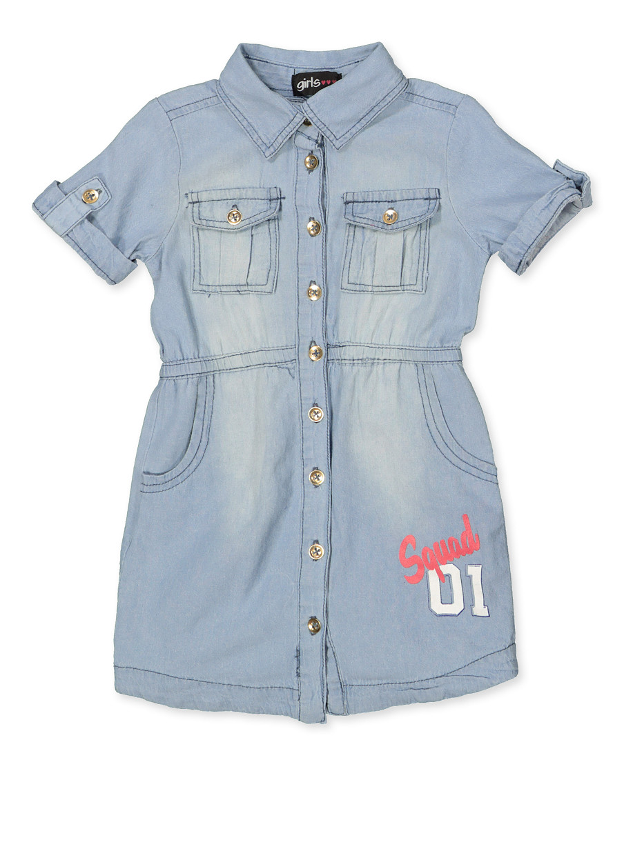 d9803772393 Girls 7-16 Squad Graphic Denim Shirt Dress - Rainbow