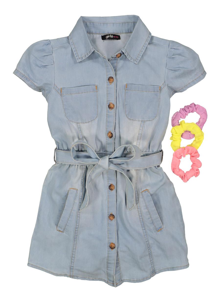 Girls Button Front Denim Shirt Dress with Scrunchies