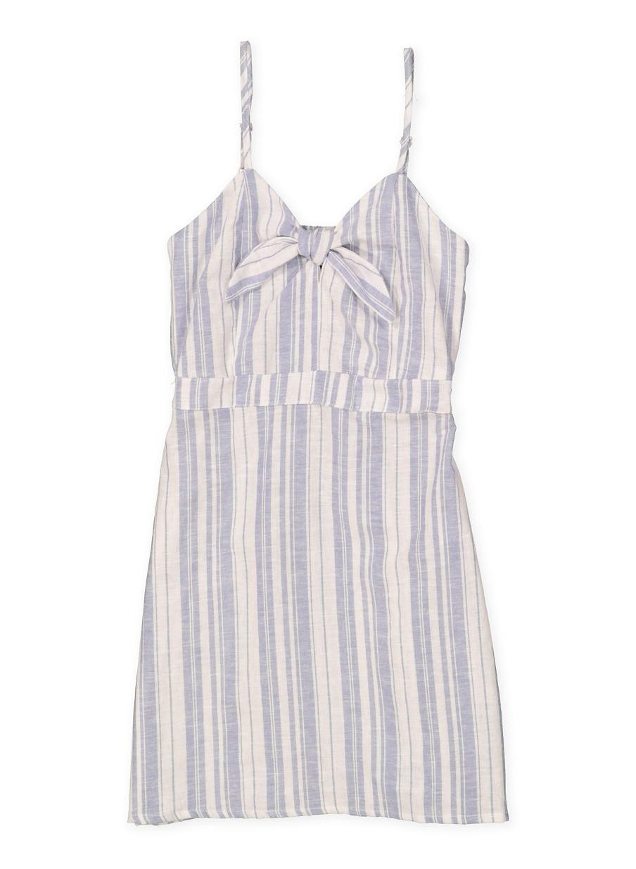 d87268d113 Girls 7-16 Striped Linen Dress - Rainbow