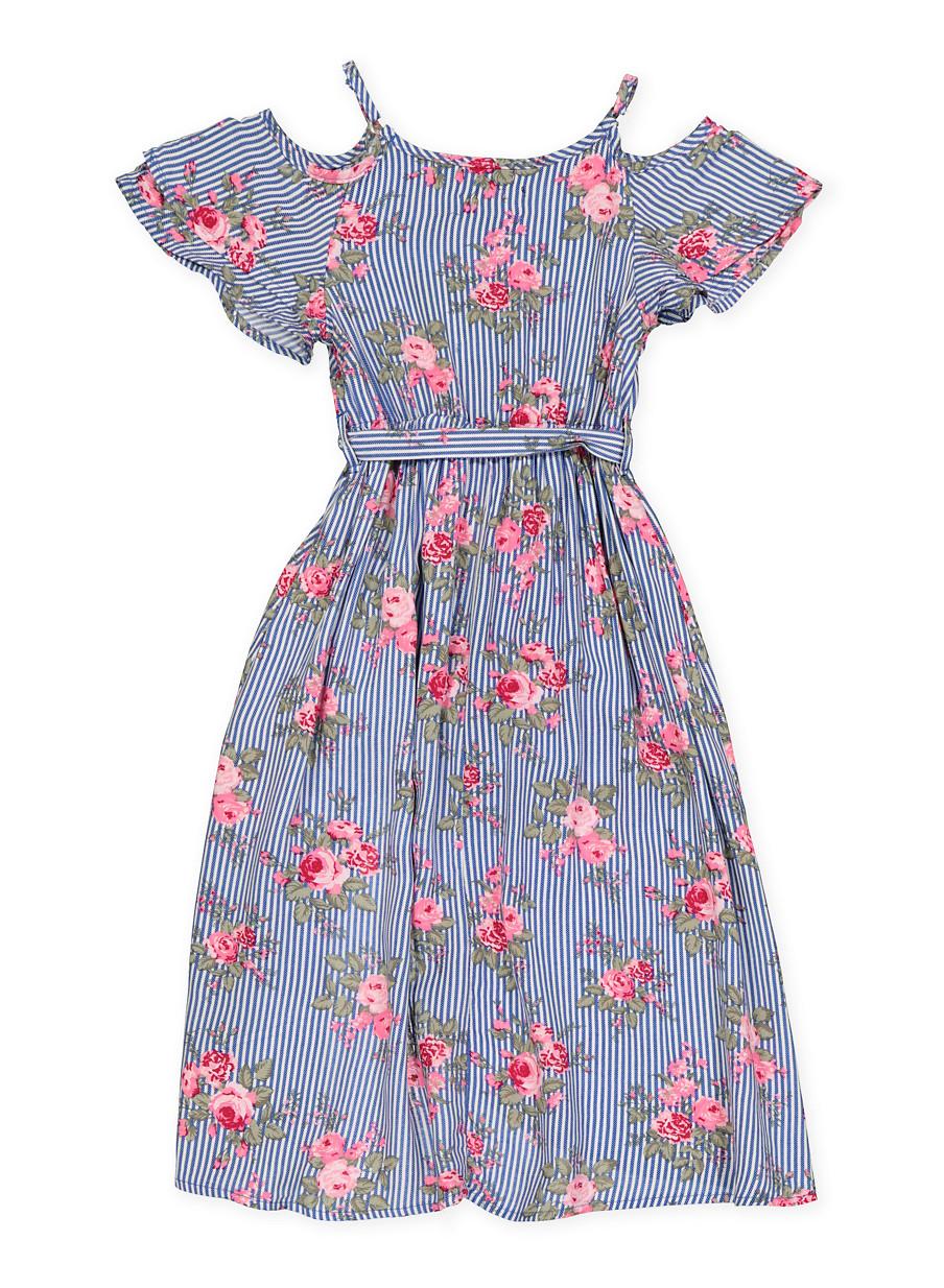 e12f66a64 Girls 7-16 Floral Striped Maxi Romper - Rainbow