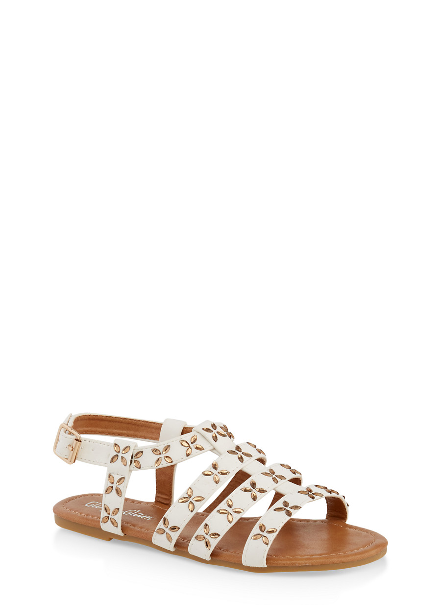 2374a140b Girls 11-4 Jeweled Caged Sandals - Rainbow