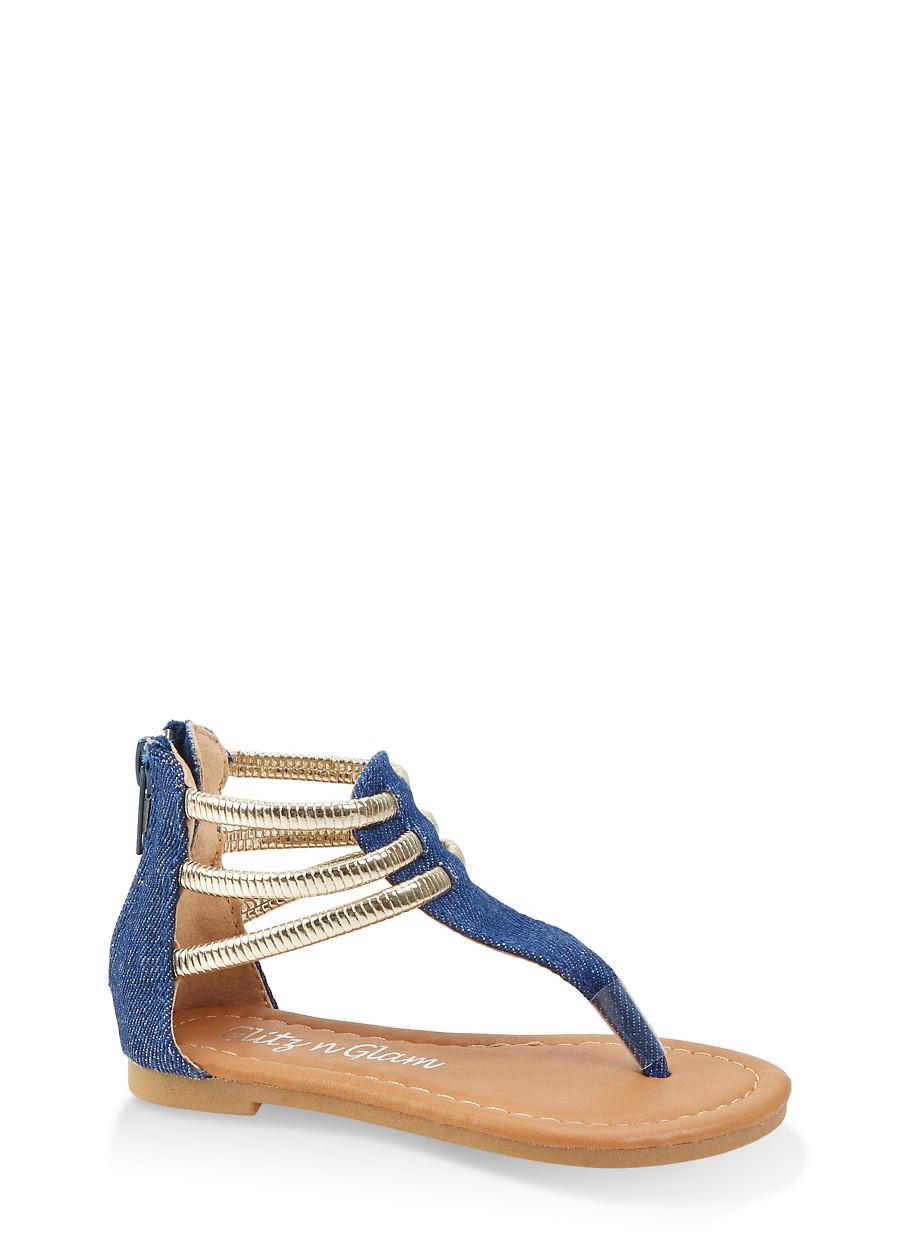 8c90a8242 Girls 5-10 Metallic Ankle Strap Thong Sandals - Rainbow