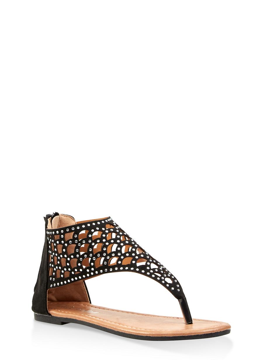 Girls Rhinestone Studded Sandals 11 Cut 4 Laser n0wPX8Ok