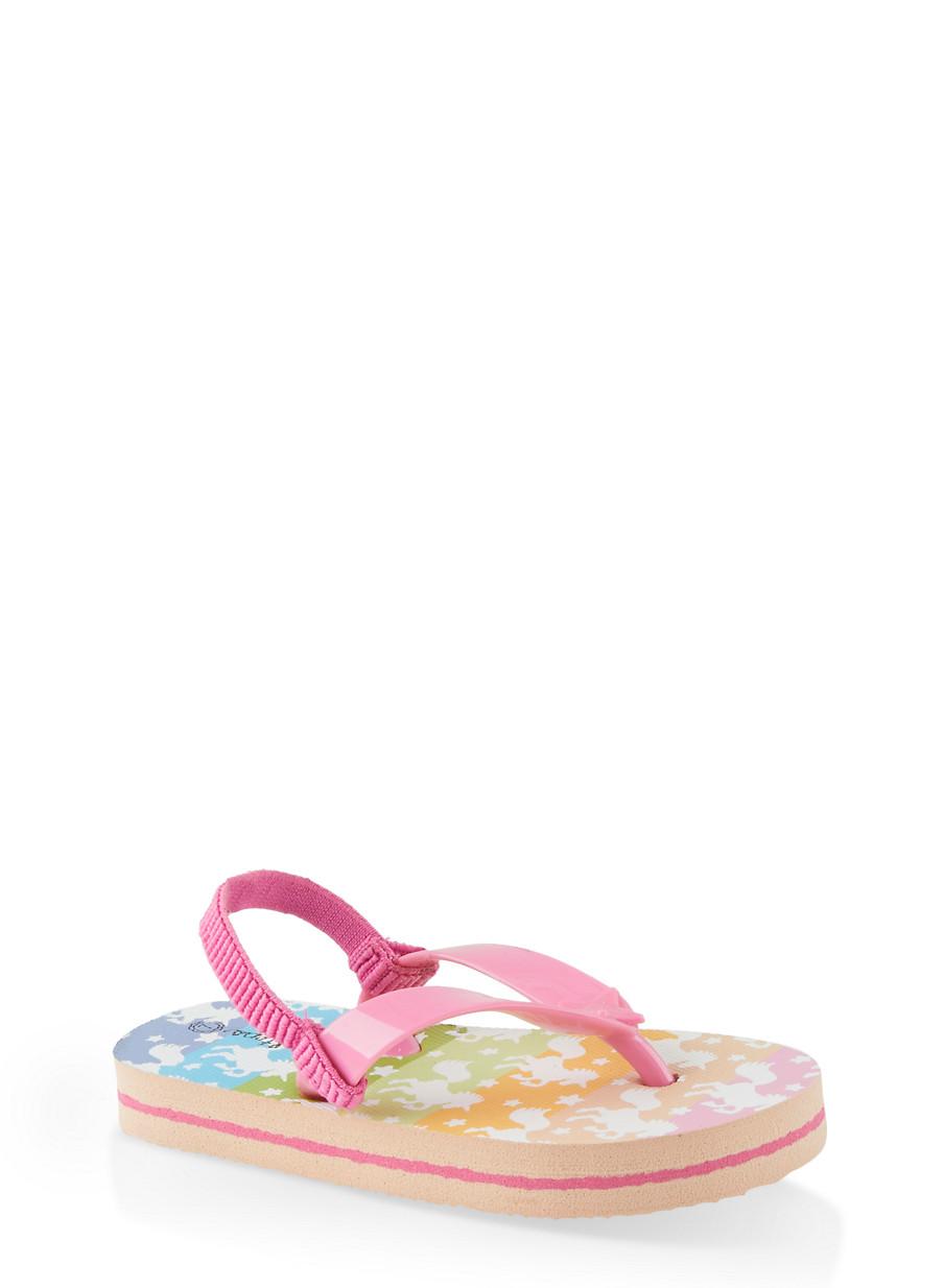 Little Girls Rainbow Unicorn Flip Flop