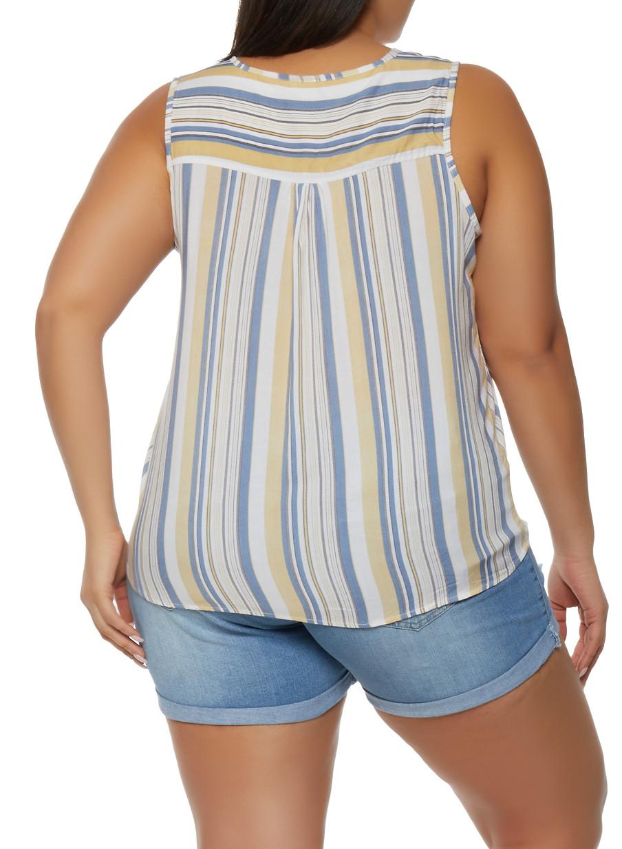 Size 8 Pastel Striped Sleeveless Button Up Light Summer Wear