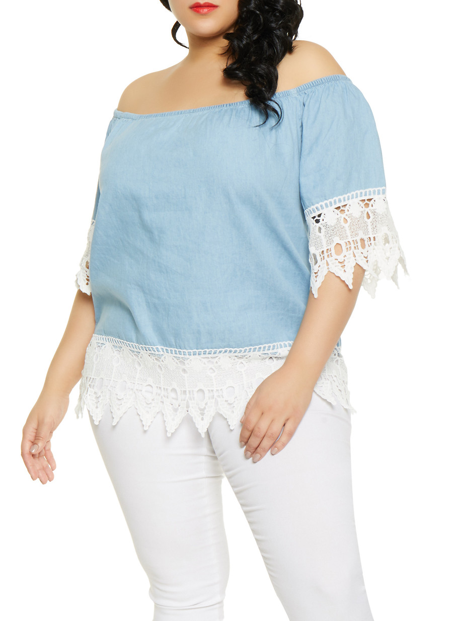 829ee9eabbcd Plus Size Crochet Trim Off the Shoulder Chambray Top - Rainbow
