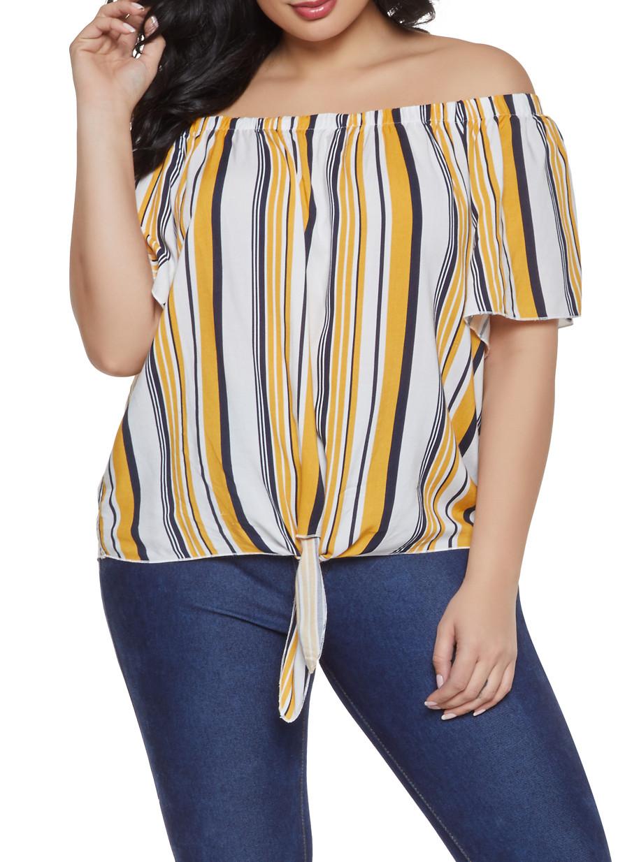 e299d545345 Plus Size Striped Tie Front Off the Shoulder Top - Rainbow