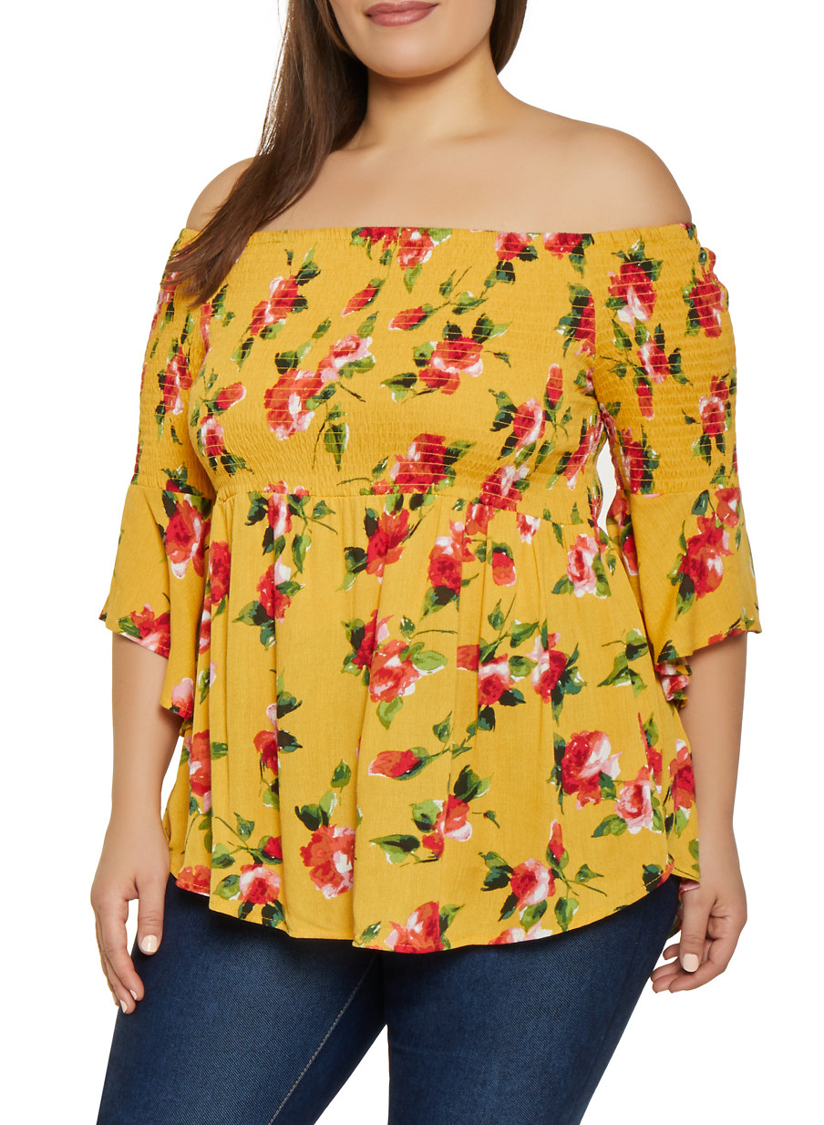 6086e17b978 Plus Size Floral Bell Sleeve Off the Shoulder Top