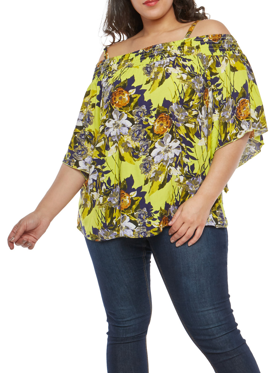 9ae104f73ba099 Plus Size Floral Off the Shoulder Top - Rainbow