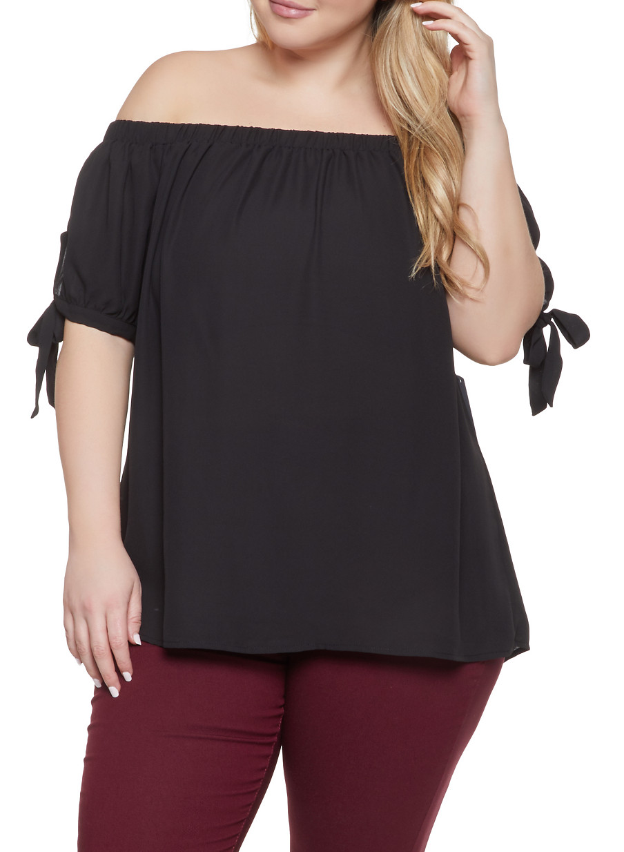 fda94a896b8 Plus Size Tie Sleeve Off the Shoulder Top
