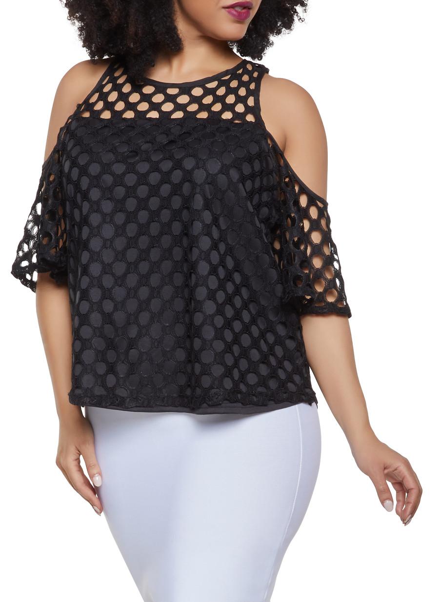 792d7f48466 Plus Size Crochet Cold Shoulder Top - Rainbow