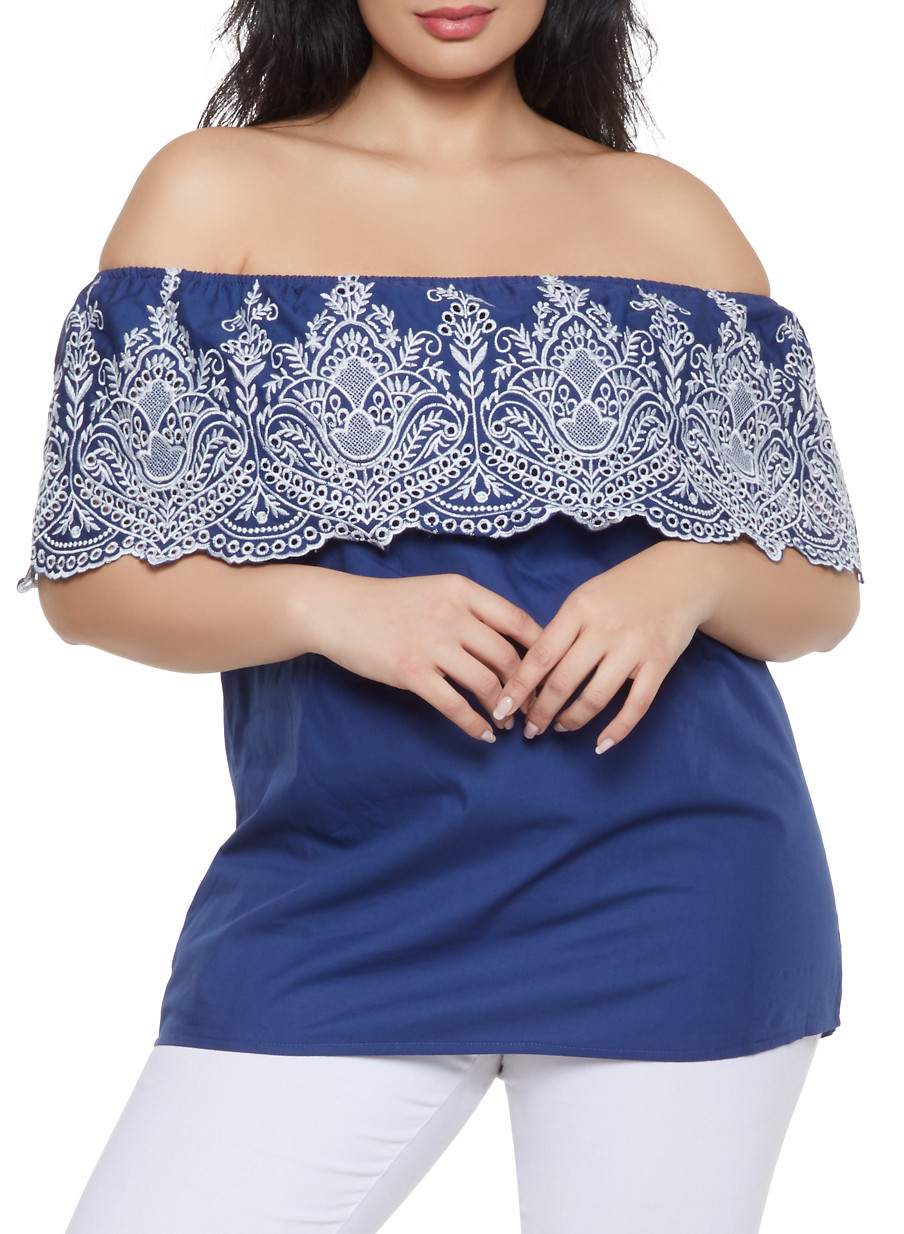 cb56ae1e698 Plus Size Eyelet Off the Shoulder Top - Rainbow