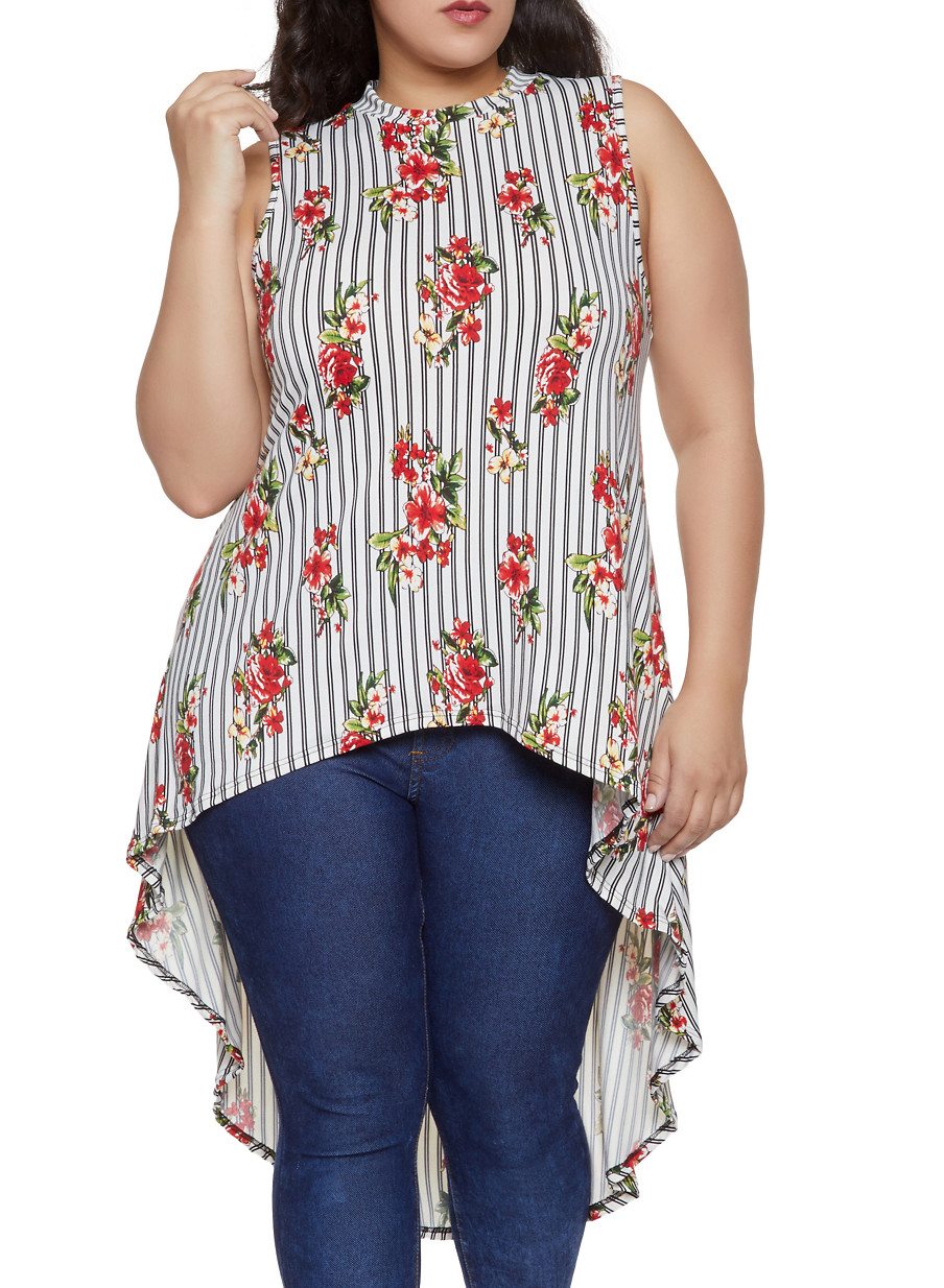 34bc1c5006c Plus Size Striped Floral High Low Top - Rainbow