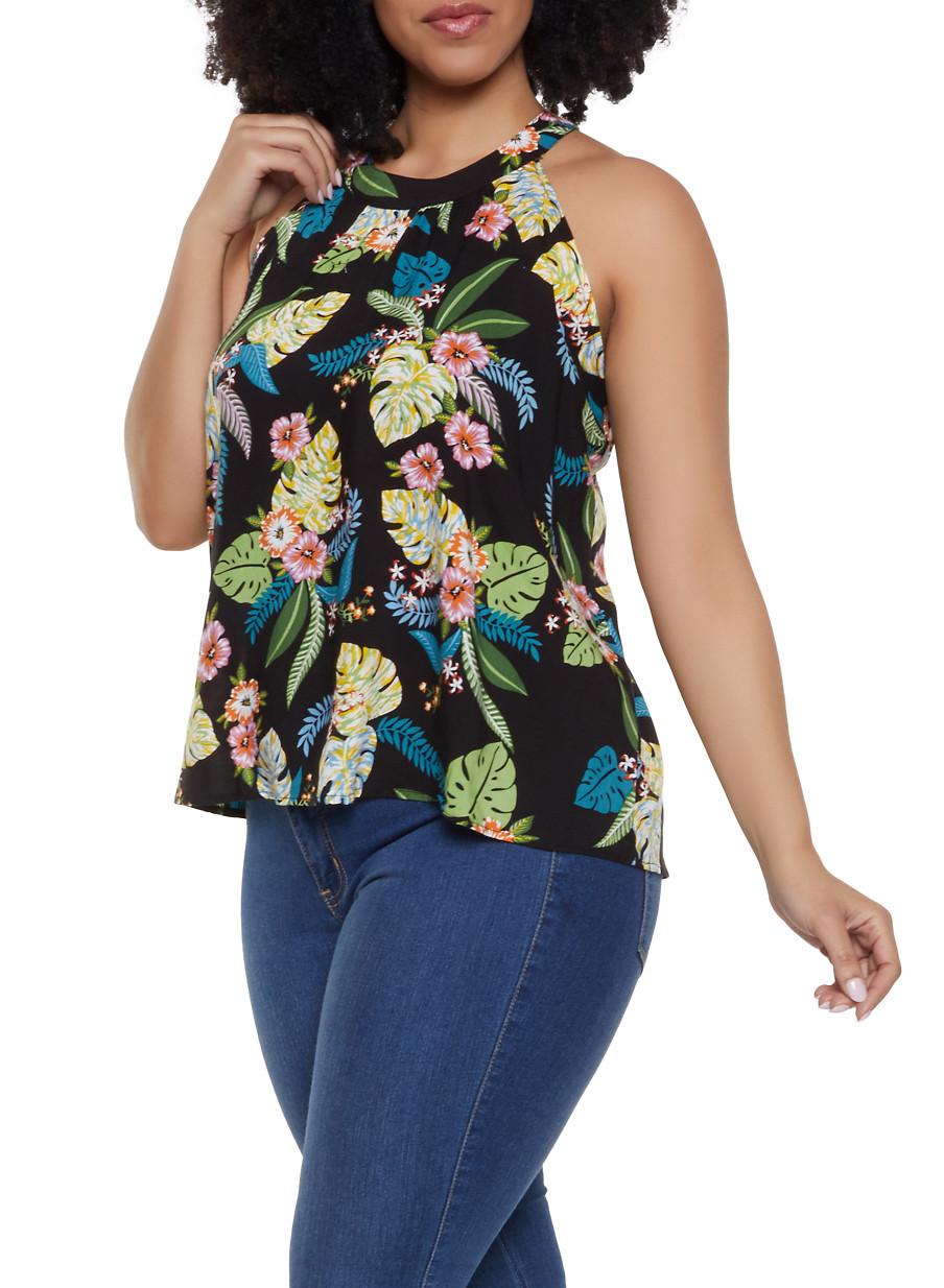 af72e51ffe396c Plus Size Zip Back Floral Top - Rainbow