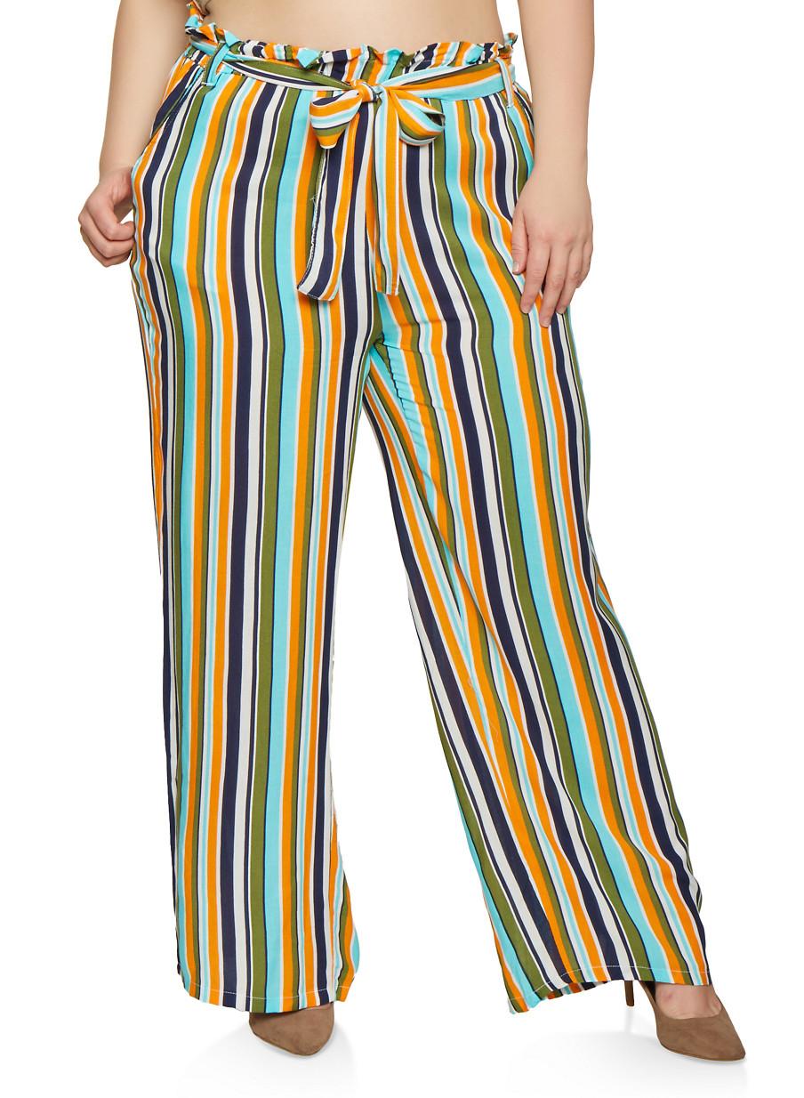 e69eadddc4d2 Plus Size Tie Waist Printed Palazzo Pants - Rainbow