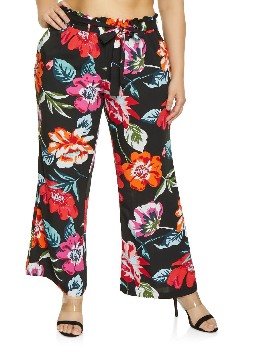 a8c3fe2974c Plus Size Floral Palazzo Pants with Tie Waist Belt - Rainbow
