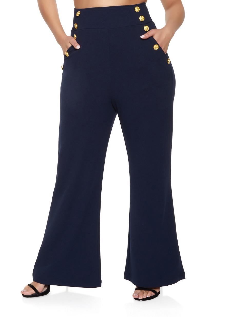 f045b75473 Plus Size High Waisted Sailor Dress Pants - Rainbow