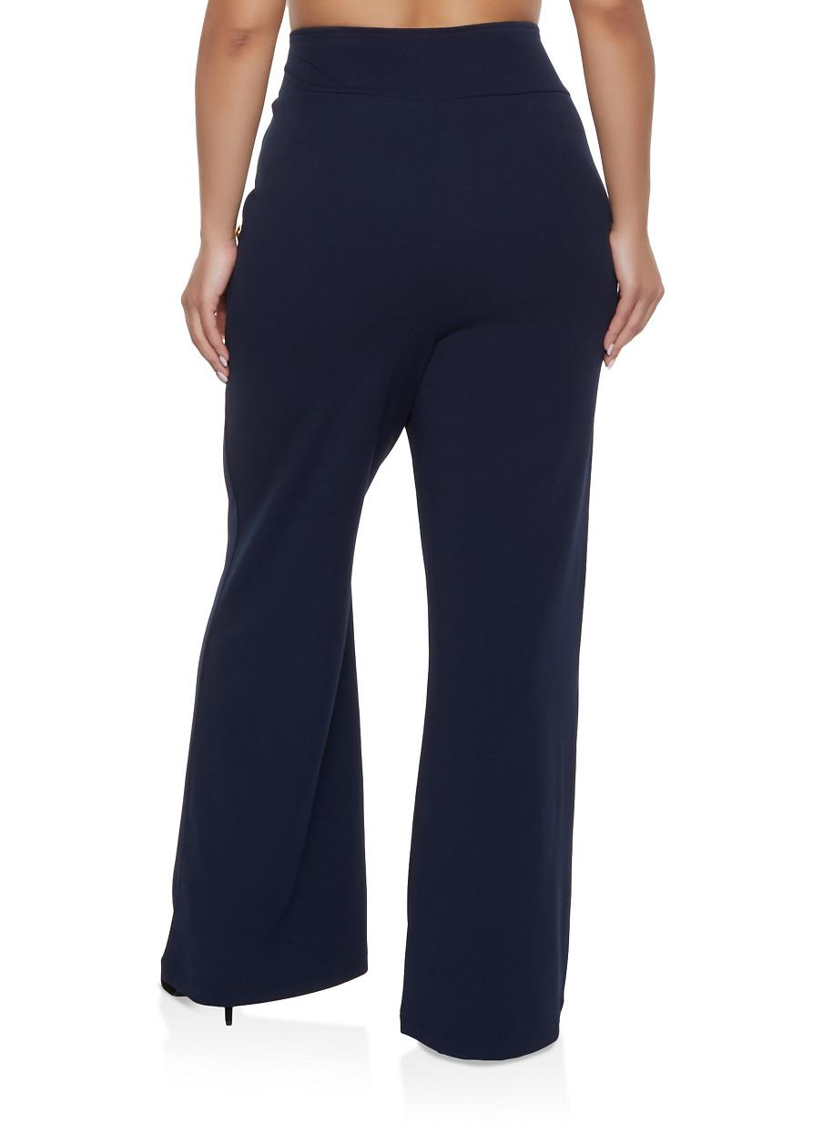 Plus Size High Waisted Sailor Dress Pants - Rainbow