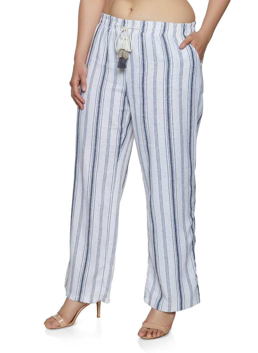 aef906c4bf5 Plus Size Striped Linen Palazzo Pants