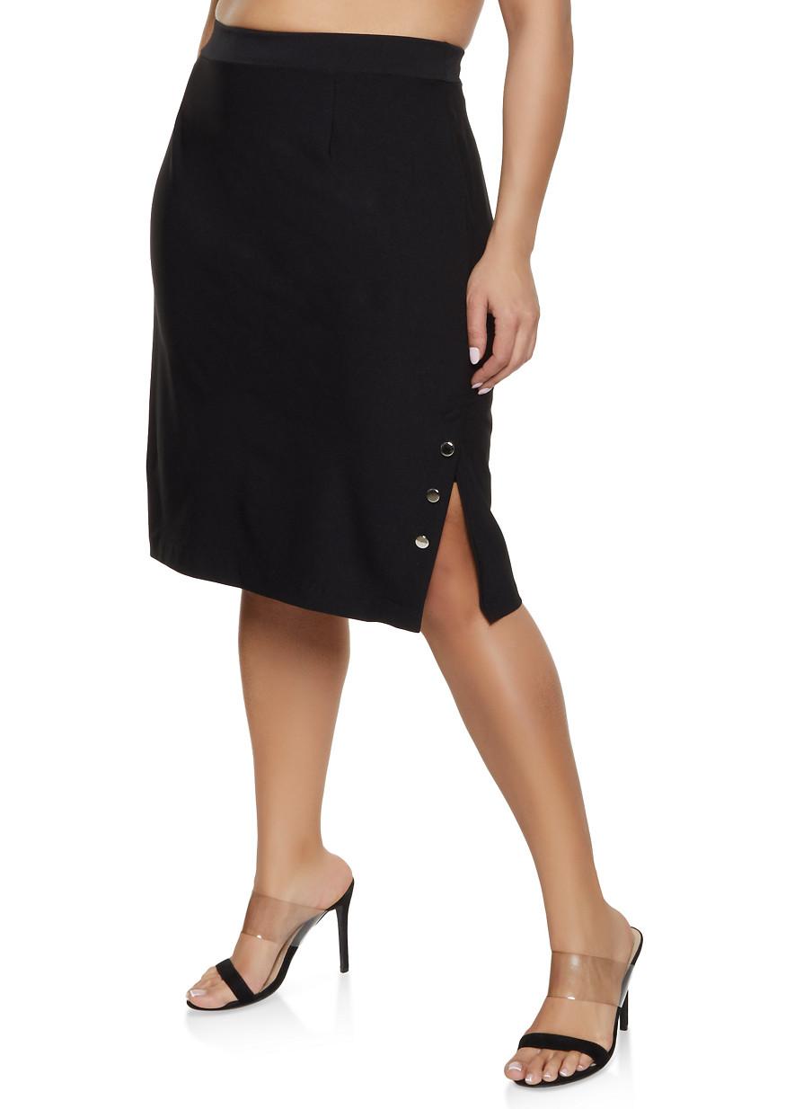 9ab0bec2902 Plus Size Button Detail Side Slit Skirt - Rainbow